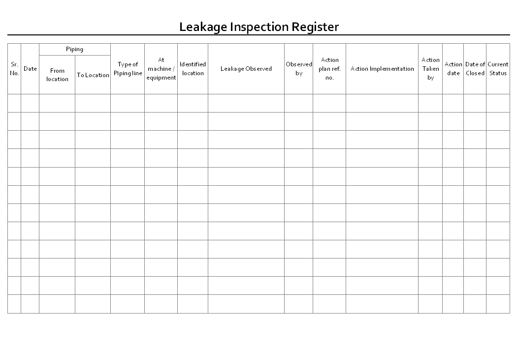Leakage inspection register
