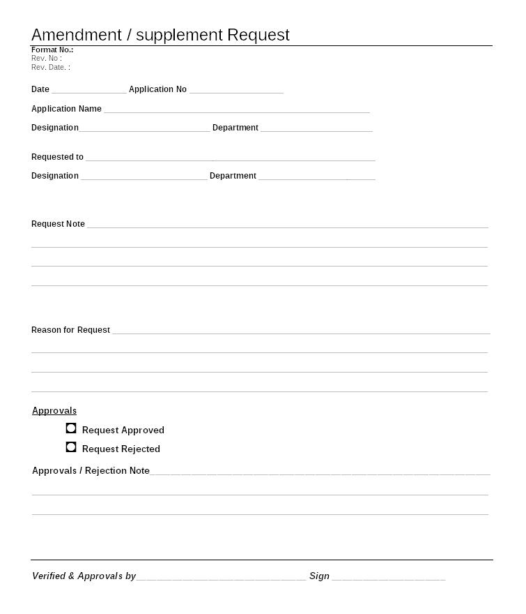 Amendment / supplement request