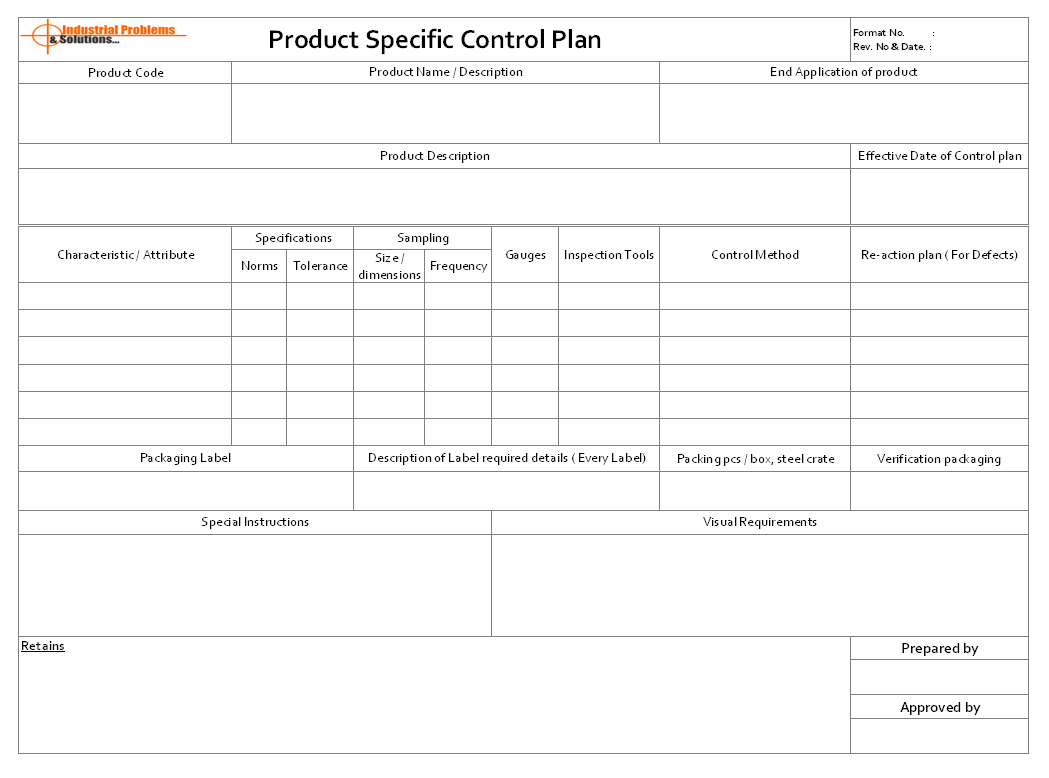 Product specific control plan