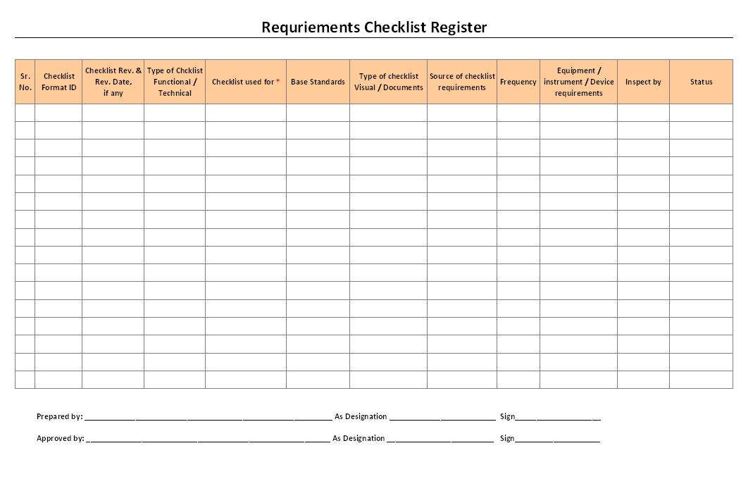 Requirements checklist register
