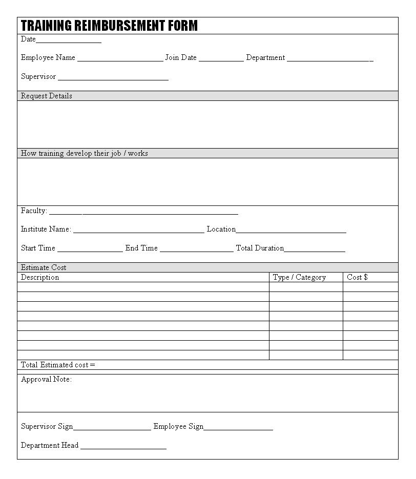 Training reimbursement form