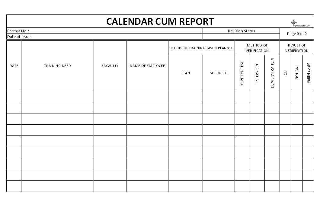 Calendar cum report