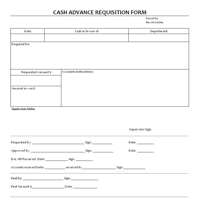 Cash Advance Requisition Documents