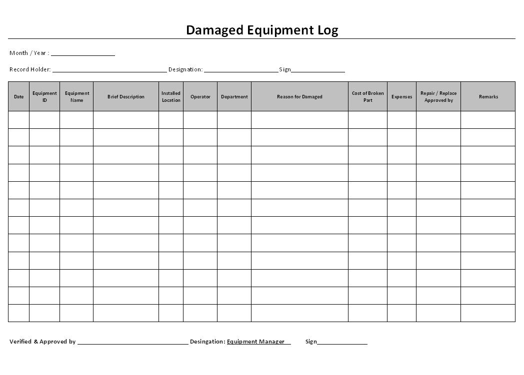 Damaged equipment log