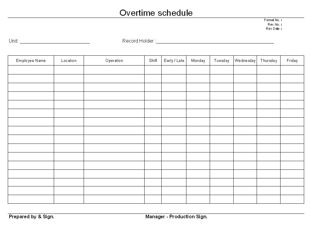 Overtime schedule