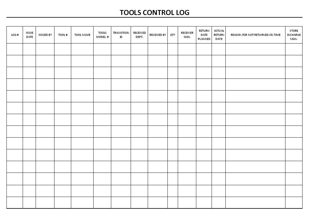 Tools control log