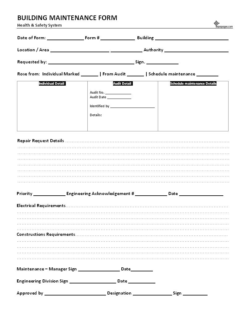 Building maintenance form