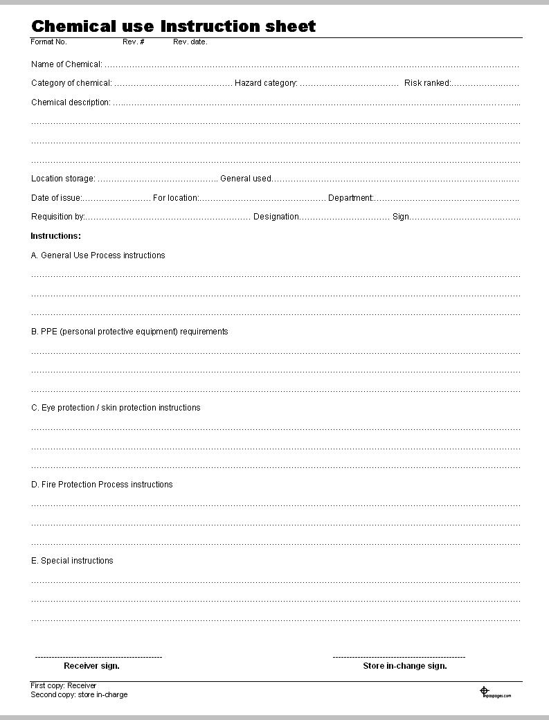 Chemical use instruction sheet