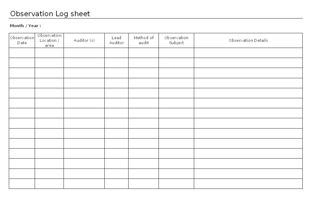 Observation log sheet