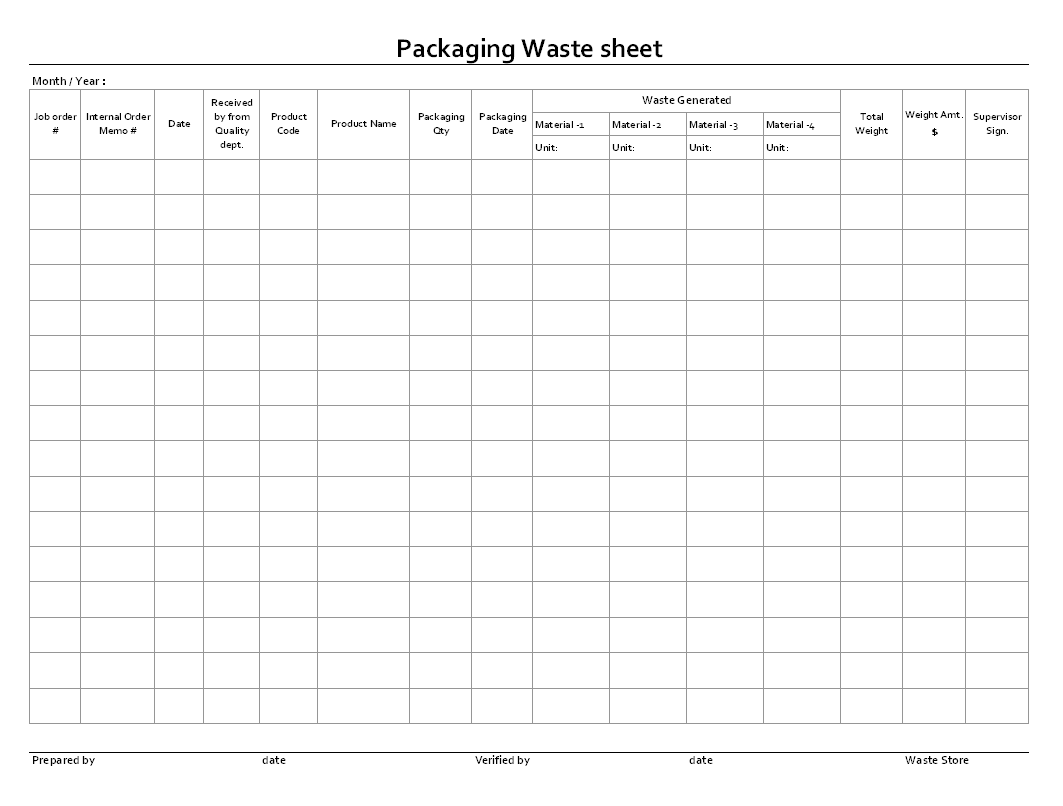 Packaging waste sheet