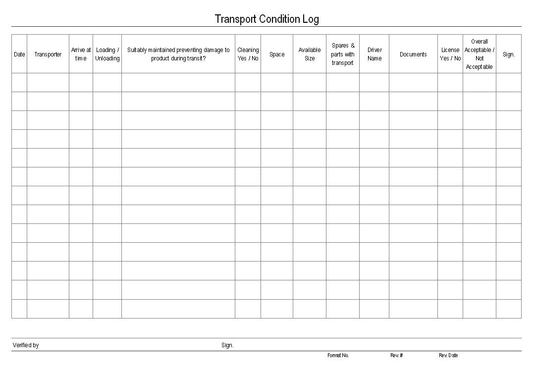 Transport condition log