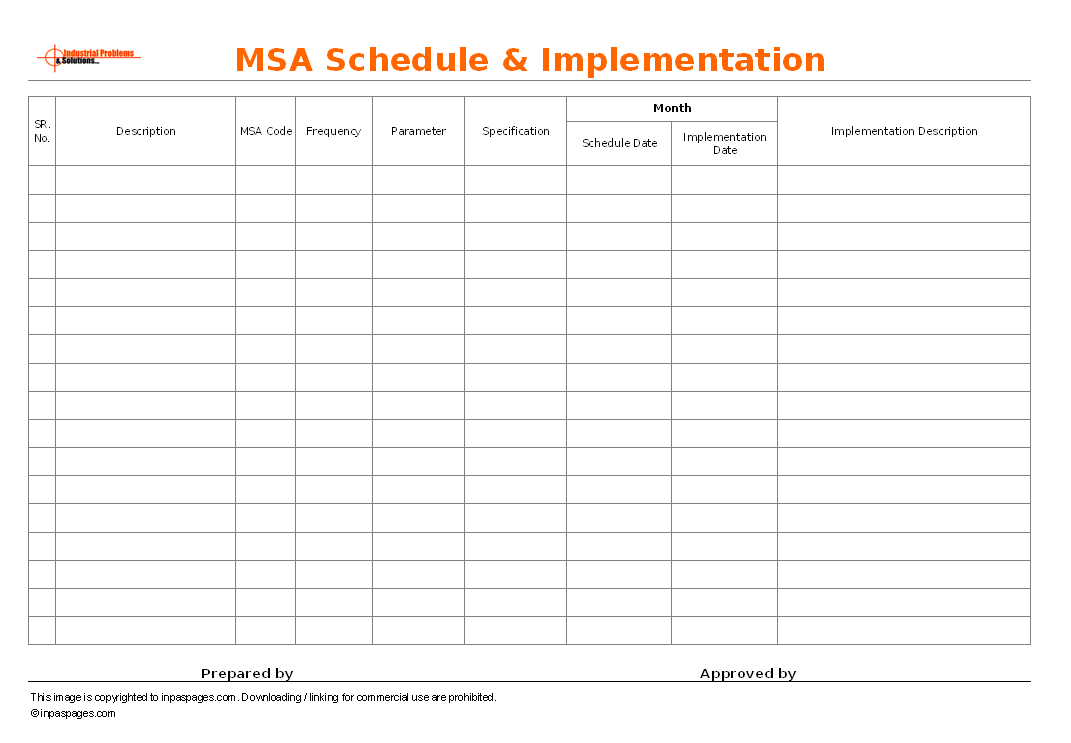 MSA schedule & Implementation