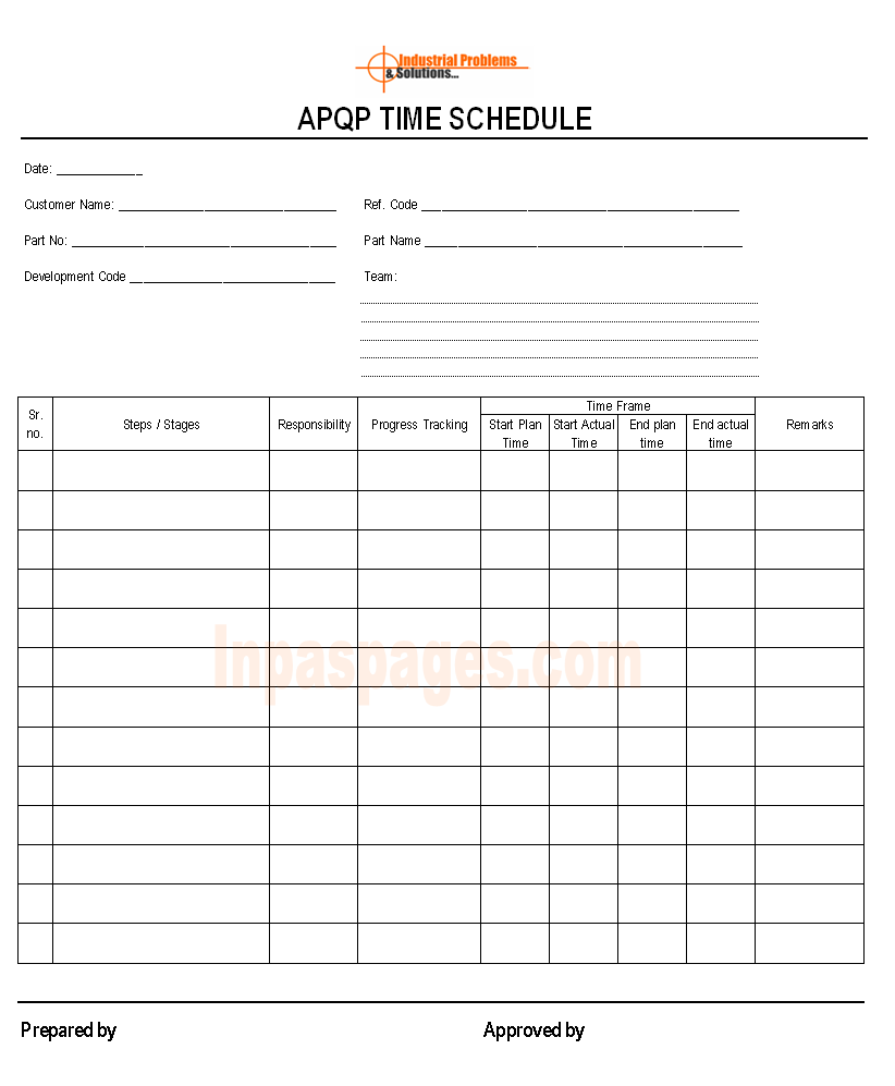 APQP time schedule
