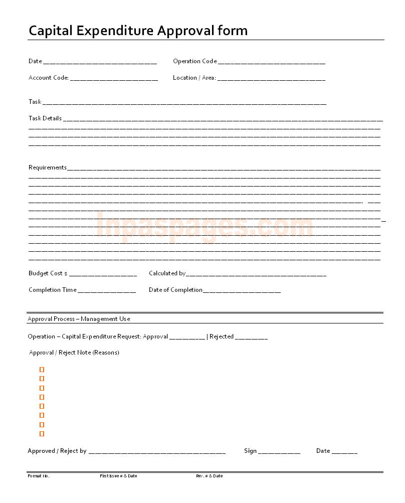 More About Capital Expenditure Roval Form Format