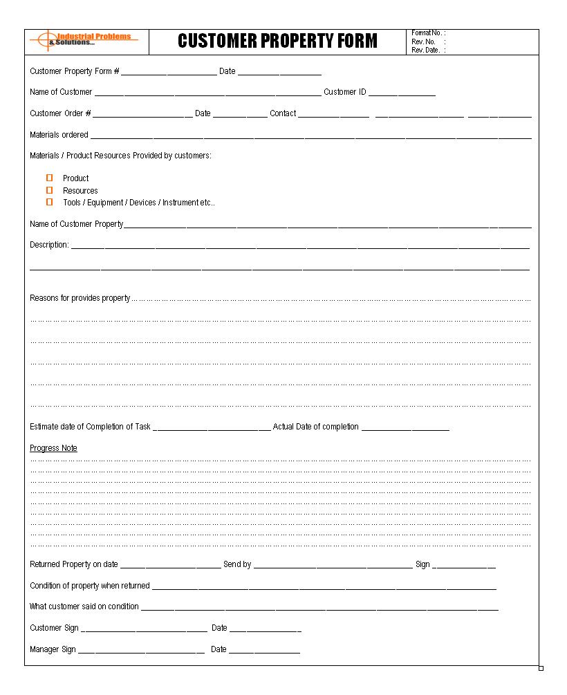 Customer property form