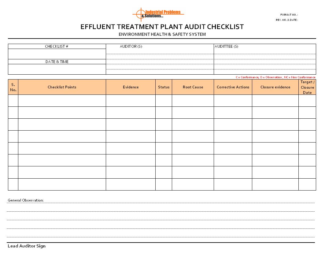 Effluent treatment plant audit checklist