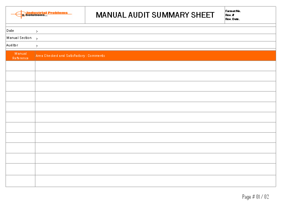 Manual Audit summary sheet