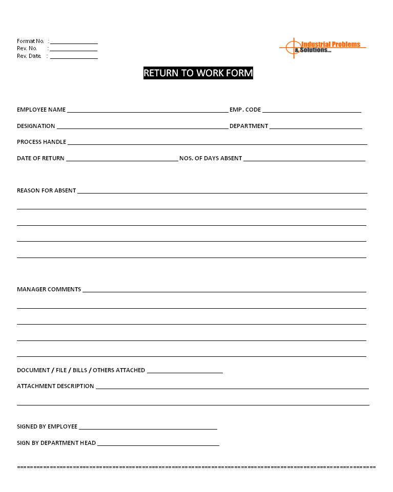 Employee return to work document for Acas templates
