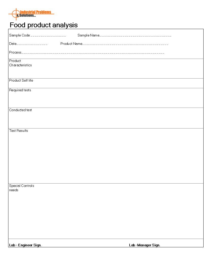 Food product analysis