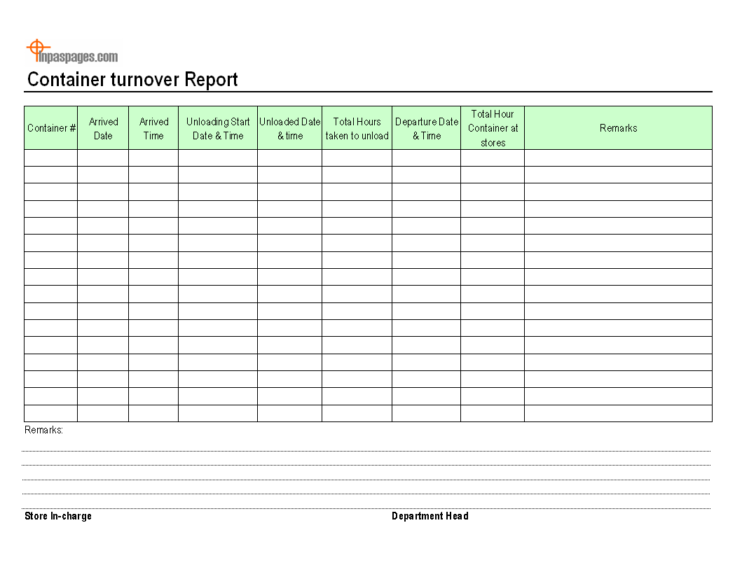 Container turnover report template