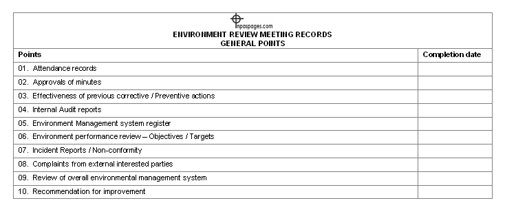 Environment review meeting record – general points