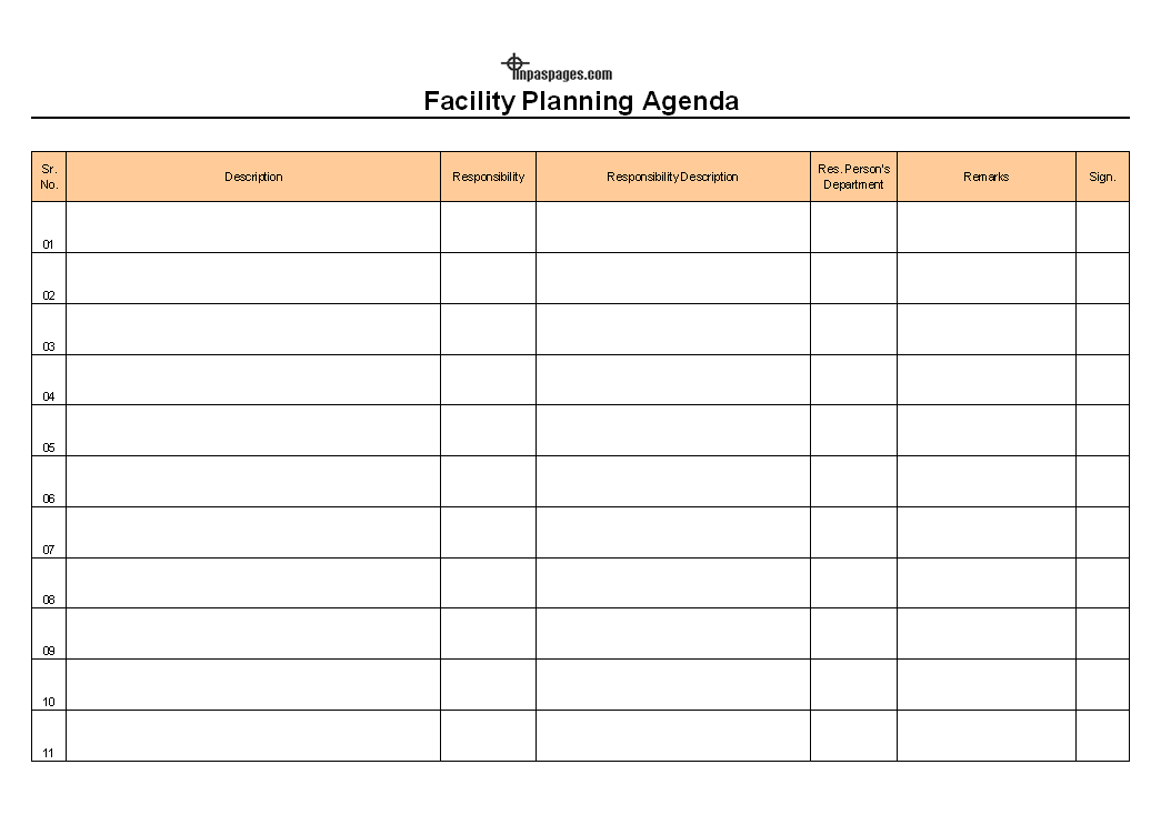 Facility Planning Agenda template