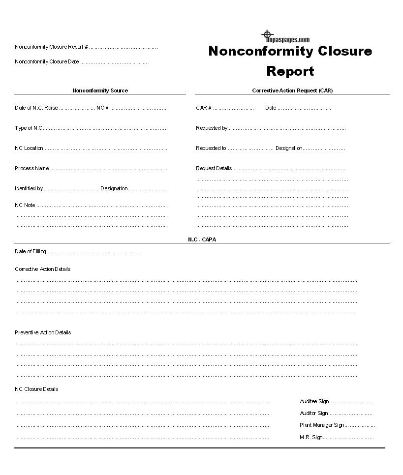 Nonconformity closure report template