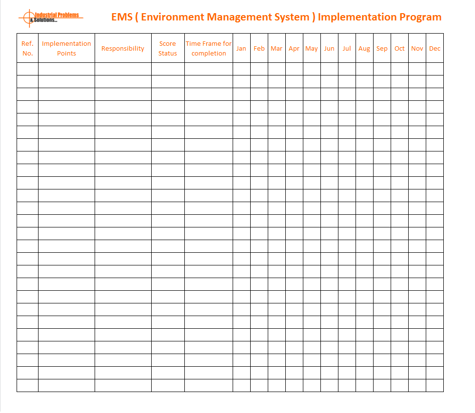 EHS implementation program template, Operational control