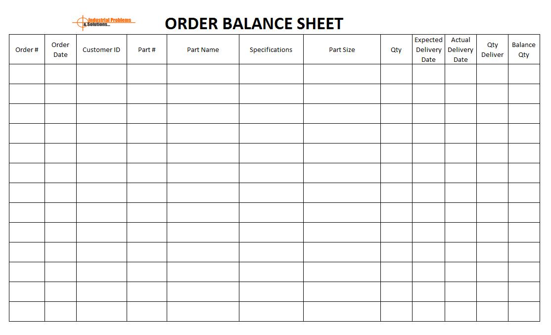 Order balance sheet template, Customer order management