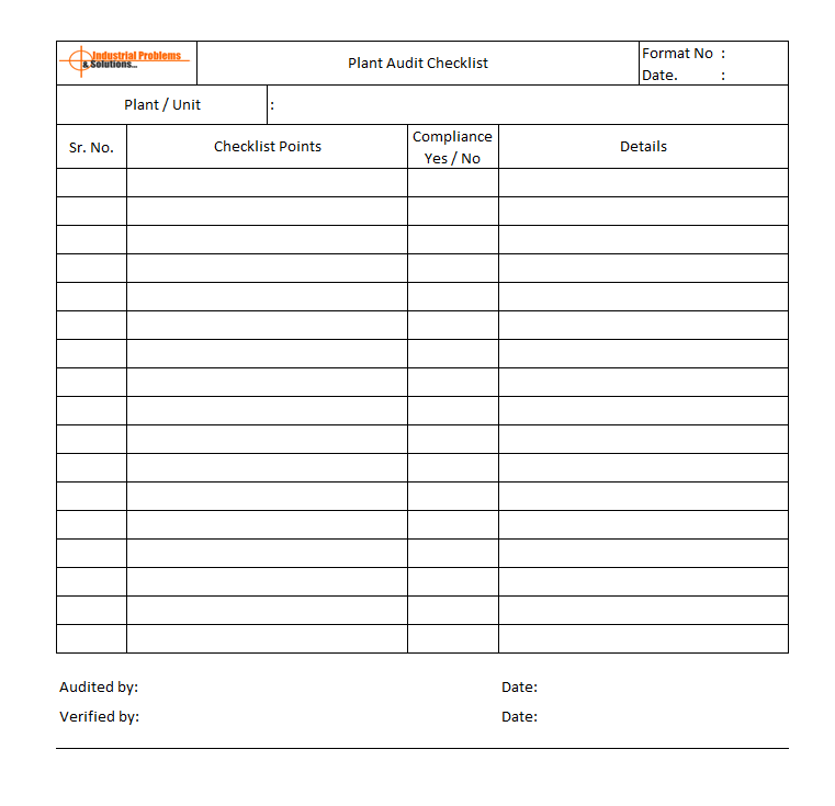 Plant Audit checklist template, OSHA plant audit