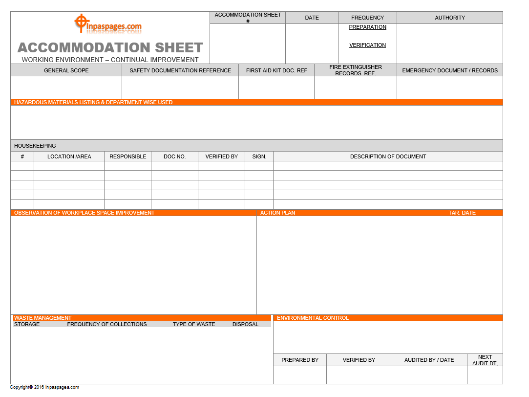 Accommodation sheet