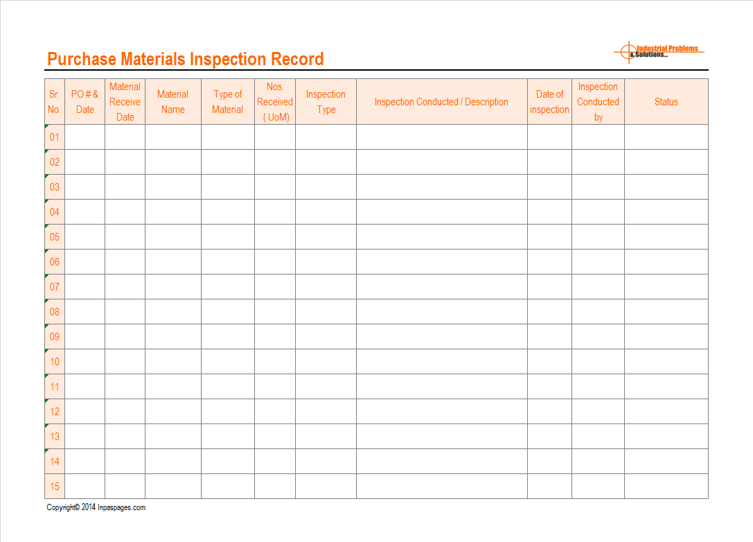incoming materials inspection record