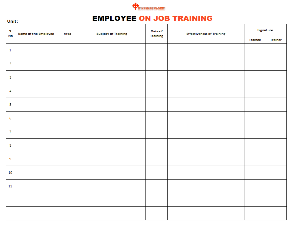 Employee On Job training template, Employee On Job training format, Employee On Job training example, Employee On Job training sample, Employee On Job training pdf, Employee On Job training ppt, Employee On Job training excel