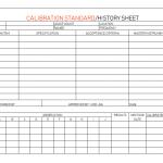 Calibration Standard History Sheet