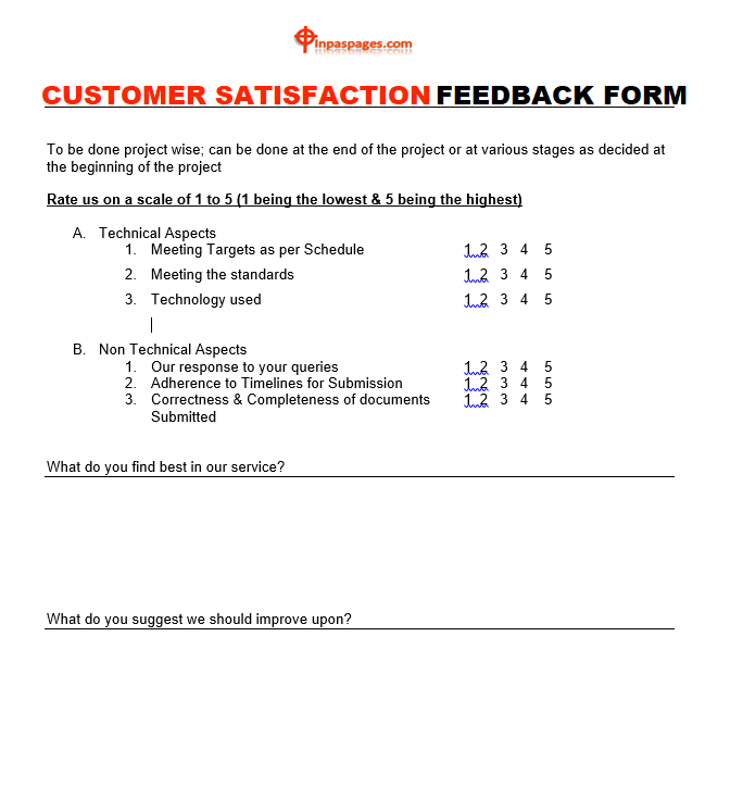 Customer satisfaction feedback form Excel