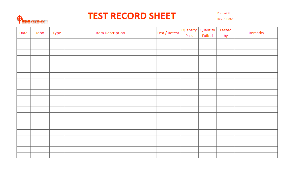 Test Record sheet