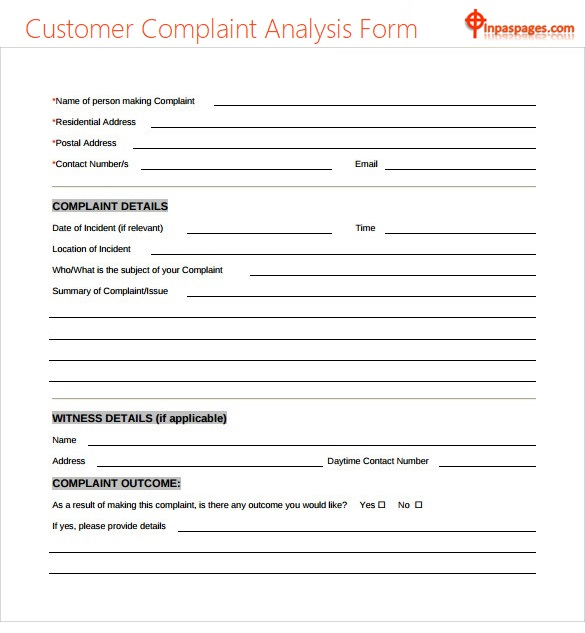 Customer Complaint Analysis Form