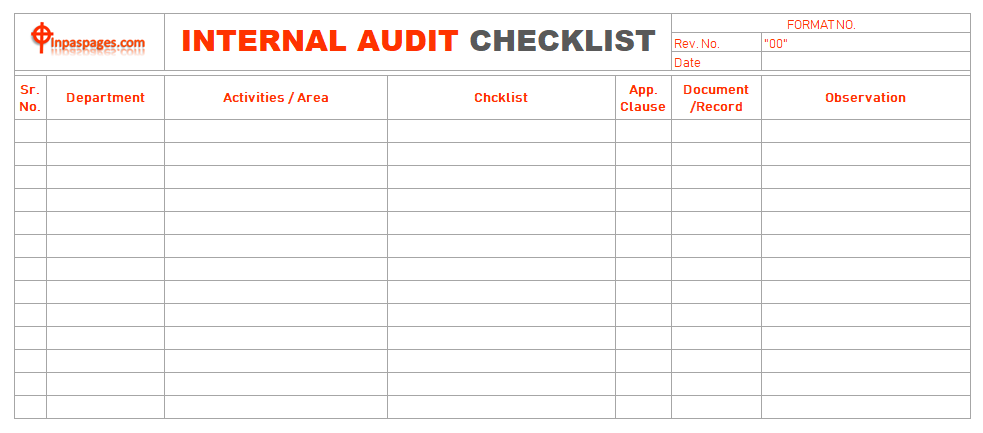 internal audit checklist. Black Bedroom Furniture Sets. Home Design Ideas